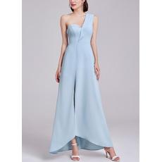 Exceptional One Shoulder Asymmetrical Hem Satin Evening Dress with Split Front