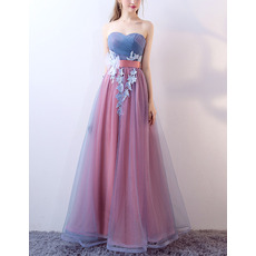 Tailored Ruched Bodice Sweetheart Fullr Length Two Color Evening Dresses with Sash and Appliques