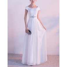 Ethereal Crystal Beading Bateau Neckline Full Length White Chiffon Evening Dresses with Slight Cap Sleeves