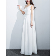 Ultra-femininet Crystal Beading One Shoulder Sleeveless Flull Length White Chiffon Evening Dresses