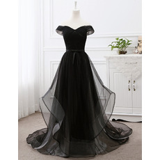 Affordable Off-the-shoulder Floor-Length Organza Tulle Black Evening Dresses with Pleated Bust