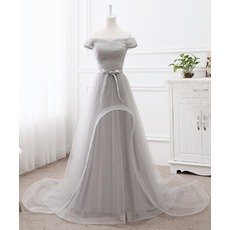 Inexpensive Off-the-shoulder Floor-Length Organza Tulle Ruched Evening Dress with Sash