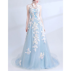 Romantic Illusion Sweetheart Neckline Sleeveless Long Satin Tulle Evening Dress with Applique