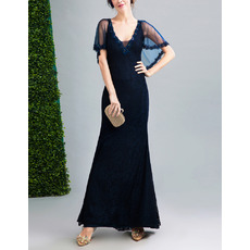 Junoesque V-Neckline Lace Evening Dress with Tulle Capelet and Beaded Appliques Detail