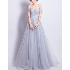 Discount Navy Blue A-Line Off-the-shoulder Floor Length Appliques Tulle Evening Dresses