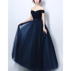 Ultra-feminine Off-the-shoulder Floor Length Satin Ruched Tulle Evening Dresses with Soutache