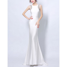 Fashionable Illusion Tulle Neckline Back Sheath Sleeveless Full Length Satin Evening Dresses with Crystal Beading