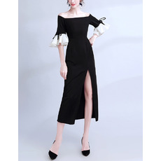 Ultra-feminine Off-the-shoulder Tea Length Color Block Prom Evening Dress with Half Bell Sleeves and Side Slit