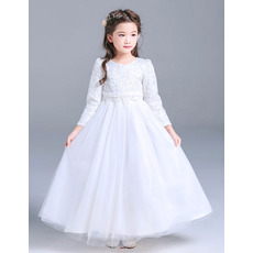 Classic Round Neck Little Girls Full Length Lace Tulle First Communion Dresses with Long Sleeves