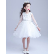 Gorgeous A-Line Beaded Appliques Short White Flower Girl Dresses with Long Tulle Sleeves