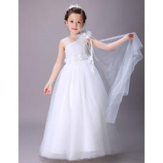 White Lovely Asymmetric Neck Full Length Satin Tulle Flower Girl Dresses with Ruffled Waist