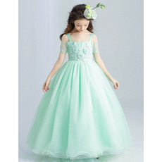 Stunning Wide Straps Floor Length Applique Flower Girl/ Pageant Dresses with Short Split Sleeve