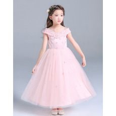 Princess Gorgeous Beaded V-Neck Satin Tulle Tea Length Flower Girl/ Little Girls Party Dresses