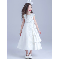 Unique Lovely Tea Length Beaded Applique Satin Flower Girl/ Side Tiered First Communion Dress