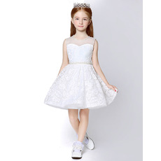 Beautiful A-Line Sleeveless Mini/ Short Lace Flower Girl Dresses with Beaded Neck and Waist