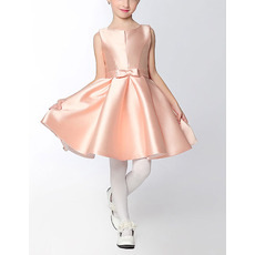 Simple A-Line Sleeveless Mini/ Short Satin Flower Girl Dresses with Bowknot