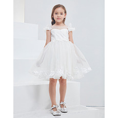 Affordable Little Girls Pretty Sleeveless Mini/ Short Tulle Flower Girl Dresses with Appliques