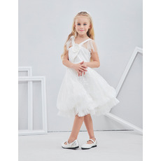 Beautiful Cute Wide Straps Knee Length Lace Tulle Flower Girl/ First Communion Dress with Straps