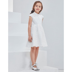 Pretty New Style Mandarin Collar Lace Satin Mini/ Short Flower Girl Dresses with Cap sleeves