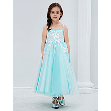 Discount Spaghetti Straps Tea Length Embroidery Tulle Flower Girl Dresses