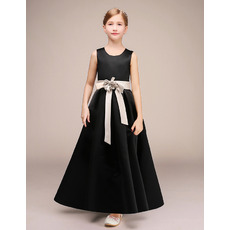 Inexpensive Simple A-Line Round Neckline Ankle Length Satin Flower Girl Dresses with Sashes