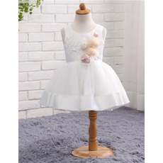 Simple Discount Ball Gown Sleeveless Satin Tulle Short Satin Flower Girl Dresses with Handmade Flowers