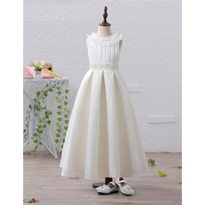 Affordable Beaded Neck Tea Length Satin Flower Girl / First Communion Dresses with Pleated Bust and Skirt