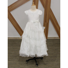 Discount Beautiful Tea Length Appliques Satin Flower Girl/ Communion Dress with Cap Sleeves and Organza Ruffled
