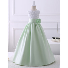 Lovely Affordable Kids Princess A-Line Sleeveless Full Length Satin Lace Flower Girl Dresses with Hand-made Flowers