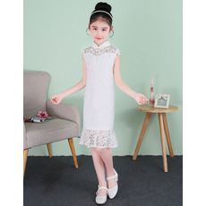 Kids Simple Column Mandarin Collar Short Lace Flower Girl Dresses with Cap Sleeves and Crystal Detailing