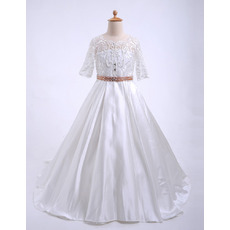 Kids Discount Sweep Train Beaded Lace Satin Flower Girl Dresses with Half Sleeves and Open Back