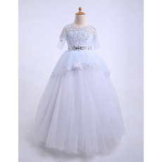 Beautiful Ball Gown Illusion Neckline Full Length Beaded Appliques Tulle Flower Girl Dresses with Half Sleeves