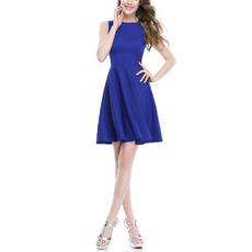 2017 New Style A-Line Sleeveless Short Satin Homecoming Dresses