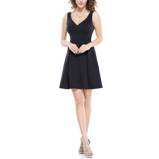 Discount A-Line V-Neck Mini/ Short Satin Homecoming/ Party Dresses