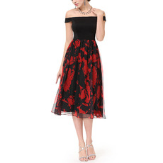 Custom Off-the-shoulder Knee Length Satin Print Homecoming Dresses