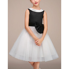 Cute Doll Collar Lapel Knee Length Black and White Two Tone Little Girls Party Dresses