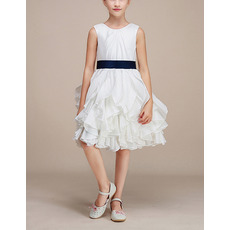 Discount Pretty Knee Length Ruffle Skirt Taffeta Flower Girl Dresses with Sashes