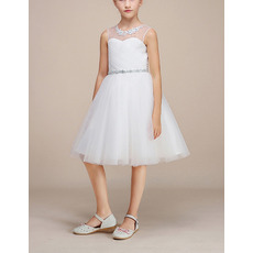 Simple A-Line Illusion Jewel Neck Knee Length Satin Tulle Flower Girl Dresses with crystal Beadings