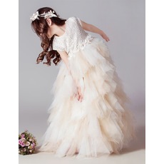 Beautiful FullLength Lace Tulle Ruffle Skirt Flower Girl Dresses with Cap sleeves