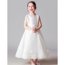 Pretty Sleeveless Tea Length Satin Little Girl First Communion Dresses with Beaded Applique