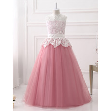 Beautiful Ball Gown Sleeveless Floor Length Lace Tulle Flower Girl Dresses with Open Back