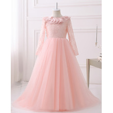 Pretty Ruffled Neck V-back Long Length Lace Tulle Flower Girl Pageant Dresses with Long Sleeves and Hand-made Flowers