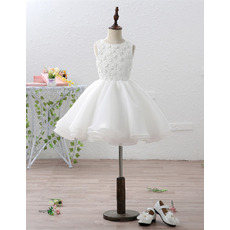 Discount Lovely Short Appliques Lace Organza Flower Girl Dress with Removable Train