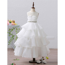 Pretty Ivory Ball Gown Tea Length Organza Tulle Layered Skirt Flower Girl Dresses with Crystal Beaded