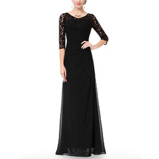 Custom Elegant Long Length Chiffon Black Mother Dresses For Wedding with Half Lace Sleeves