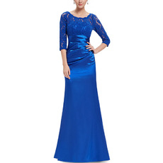 Custom Elegant Asymmetrical Pleated Satin Mother Dresses for Wedding Party with 3/4 Length Sleeves