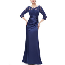 Couture Elegant Floor Length Asymmetrical Pleated Satin Mother Gowns for Wedding Party with 3/4 Long Lace Sleeves