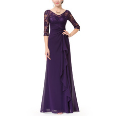 Elegant Pleated Full Length Chiffon Mother Dresses for Wedding Party with Half Sleeves & Front Ruffles