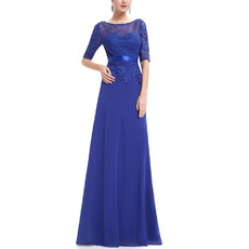 Fashionable Appliques Full Length Chiffon Mother of The Bride Dresses with Half Lace Sleeves & Belts