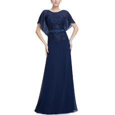 Fashionable Beaded Appliques Full Length Chiffon Mother of The Bride Dresses with Flutter Sleeves & Keyhole Back